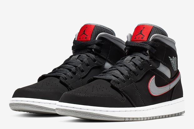 Another Air Jordan 1 Mid colorway is coming soon. https   www.hotnewhiphop .com air-jordan-1-mid-black-grey-red-details-news.73215.html 54109729f